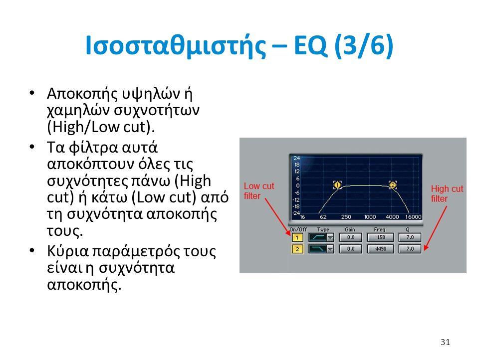 Ισοσταθμιστής – EQ (3/6) Αποκοπής υψηλών ή χαμηλών συχνοτήτων (High/Low cut).