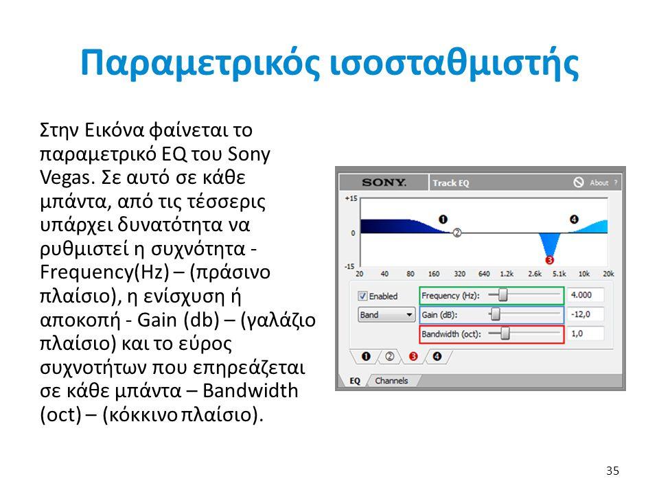 Παραμετρικός ισοσταθμιστής Στην Εικόνα φαίνεται το παραμετρικό EQ του Sony Vegas.