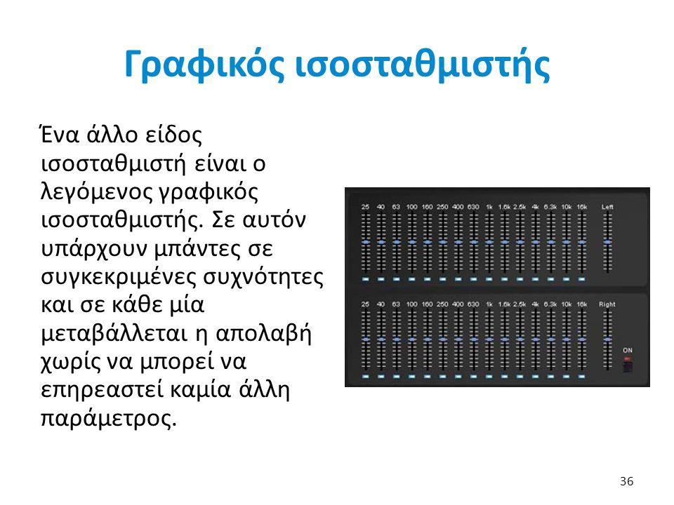 Γραφικός ισοσταθμιστής Ένα άλλο είδος ισοσταθμιστή είναι ο λεγόμενος γραφικός ισοσταθμιστής.