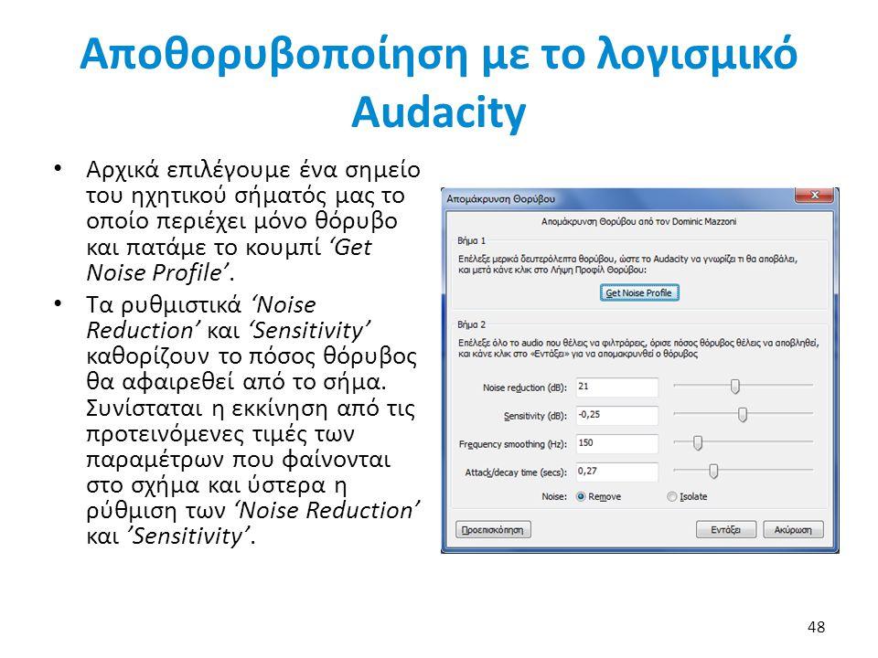 Αποθορυβοποίηση με το λογισμικό Audacity Αρχικά επιλέγουμε ένα σημείο του ηχητικού σήματός μας το οποίο περιέχει μόνο θόρυβο και πατάμε το κουμπί 'Get Noise Profile'.