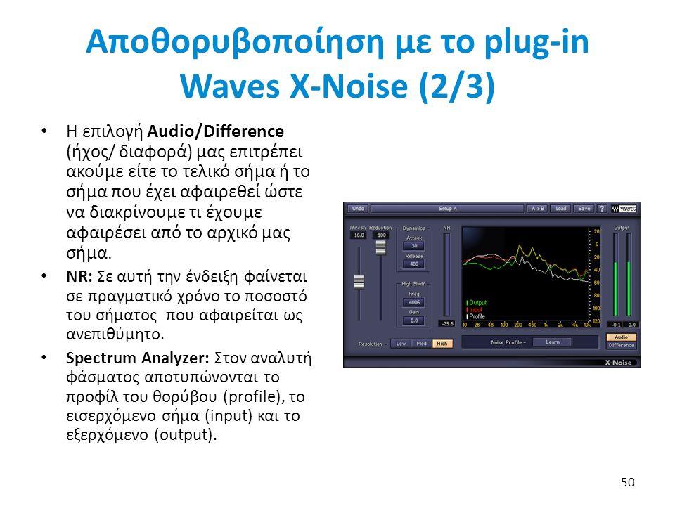 Αποθορυβοποίηση με το plug-in Waves X-Noise (2/3) Η επιλογή Audio/Difference (ήχος/ διαφορά) μας επιτρέπει ακούμε είτε το τελικό σήμα ή το σήμα που έχει αφαιρεθεί ώστε να διακρίνουμε τι έχουμε αφαιρέσει από το αρχικό μας σήμα.