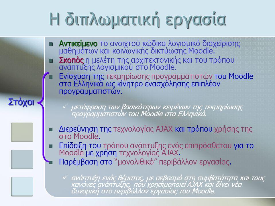 Αντικείμενο Αντικείμενο το ανοιχτού κώδικα λογισμικό διαχείρισης μαθημάτων και κοινωνικής δικτύωσης Moodle. Σκοπός Σκοπός η μελέτη της αρχιτεκτονικής