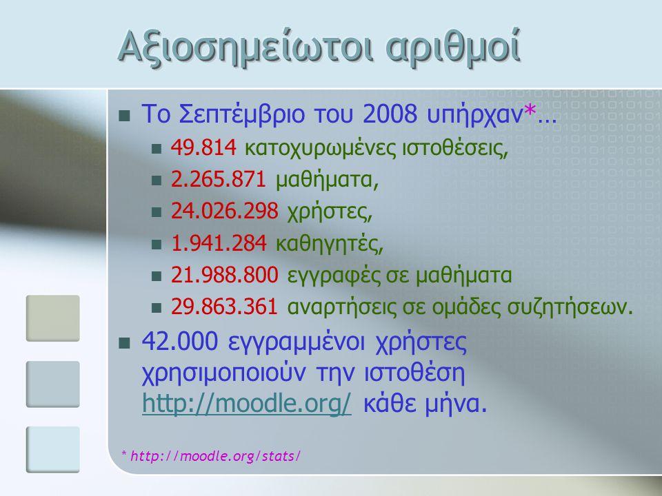 Το Σεπτέμβριο του 2008 υπήρχαν*… 49.814 κατοχυρωμένες ιστοθέσεις, 2.265.871 μαθήματα, 24.026.298 χρήστες, 1.941.284 καθηγητές, 21.988.800 εγγραφές σε