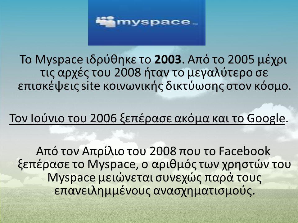 To Myspace ιδρύθηκε το 2003. Από το 2005 μέχρι τις αρχές του 2008 ήταν το μεγαλύτερο σε επισκέψεις site κοινωνικής δικτύωσης στον κόσμο. Τον Ιούνιο το