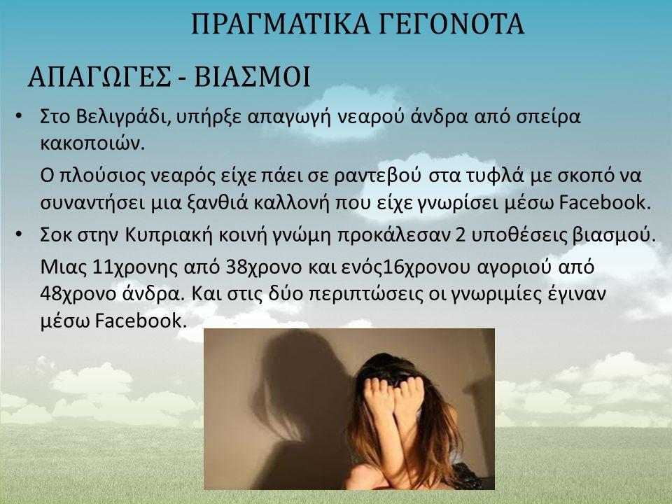 ΑΠΑΓΩΓΕΣ - ΒΙΑΣΜΟΙ Στο Βελιγράδι, υπήρξε απαγωγή νεαρού άνδρα από σπείρα κακοποιών. Ο πλούσιος νεαρός είχε πάει σε ραντεβού στα τυφλά με σκοπό να συνα