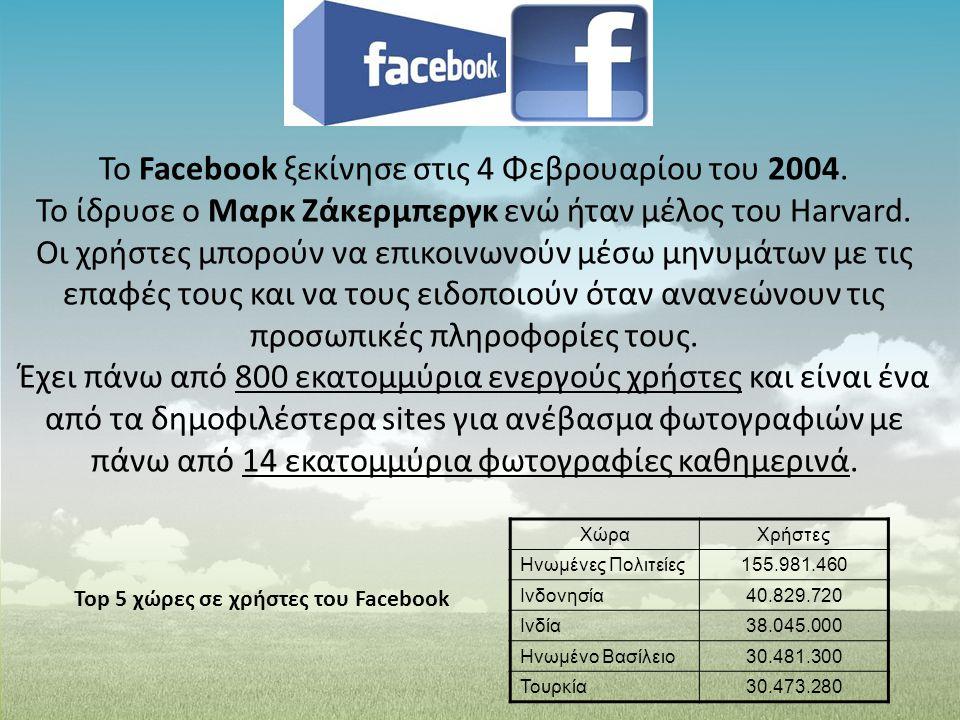 Το Facebook ξεκίνησε στις 4 Φεβρουαρίου του 2004. Το ίδρυσε ο Μαρκ Ζάκερμπεργκ ενώ ήταν μέλος του Harvard. Οι χρήστες μπορούν να επικοινωνούν μέσω μην