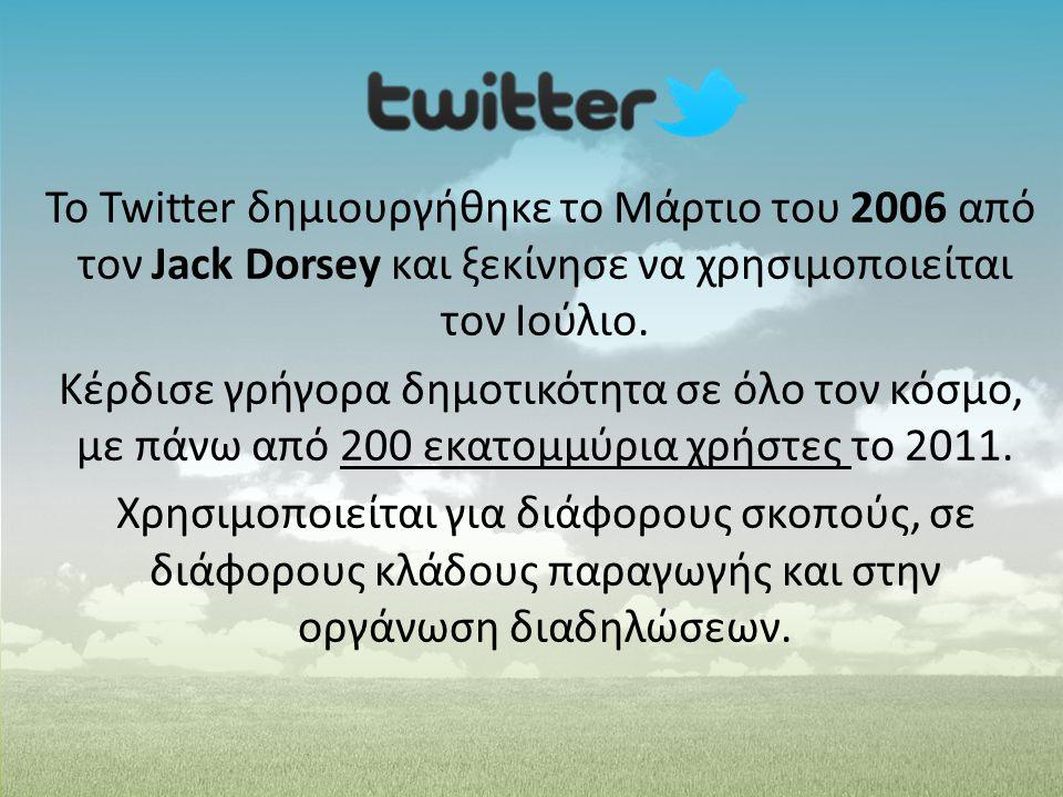 Το Twitter δημιουργήθηκε το Μάρτιο του 2006 από τον Jack Dorsey και ξεκίνησε να χρησιμοποιείται τον Ιούλιο. Κέρδισε γρήγορα δημοτικότητα σε όλο τον κό