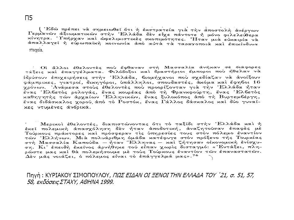 Π5 Πηγή : ΚΥΡΙΑΚΟΥ ΣΙΜΟΠΟΥΛΟΥ, ΠΩΣ ΕΙΔΑΝ ΟΙ ΞΕΝΟΙ ΤΗΝ ΕΛΛΑΔΑ ΤΟΥ ΄21, σ. 51, 57, 58, εκδόσεις ΣΤΑΧΥ, ΑΘΗΝΑ 1999.
