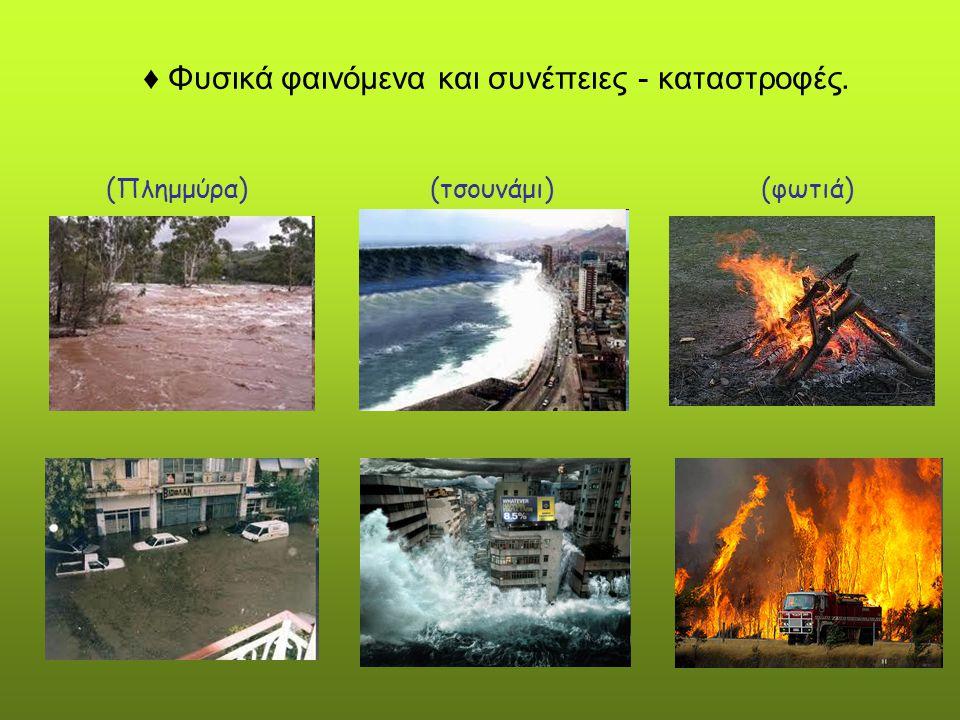 ♦ Φυσικά φαινόμενα και συνέπειες - καταστροφές. (Πλημμύρα) (τσουνάμι) (φωτιά)