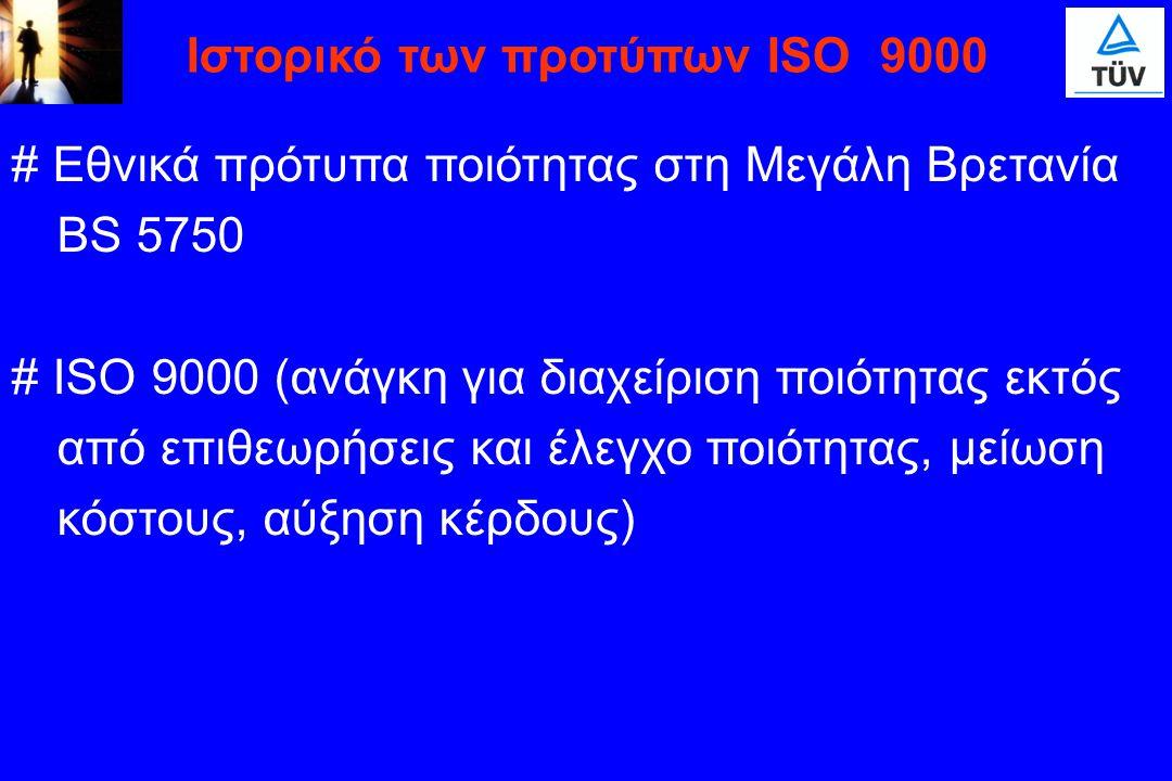 # Εθνικά πρότυπα ποιότητας στη Μεγάλη Βρετανία BS 5750 # ISO 9000 (ανάγκη για διαχείριση ποιότητας εκτός από επιθεωρήσεις και έλεγχο ποιότητας, μείωση