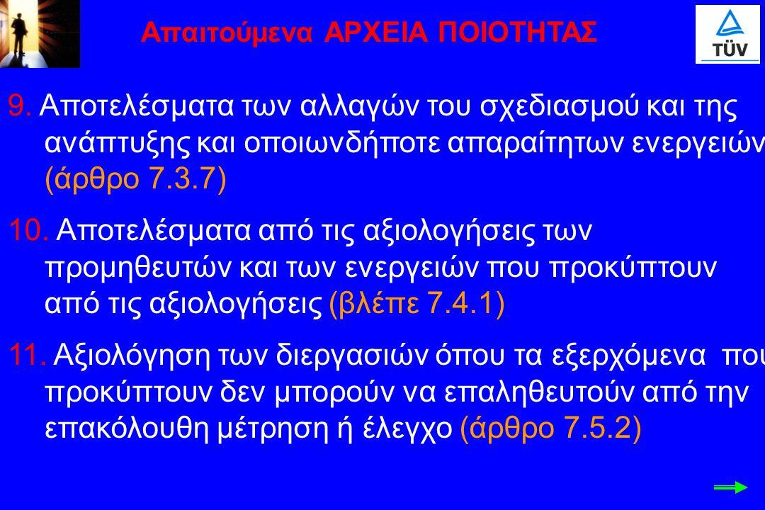 9. Αποτελέσματα των αλλαγών του σχεδιασμού και της ανάπτυξης και οποιωνδήποτε απαραίτητων ενεργειών (άρθρο 7.3.7) 10. Αποτελέσματα από τις αξιολογήσει