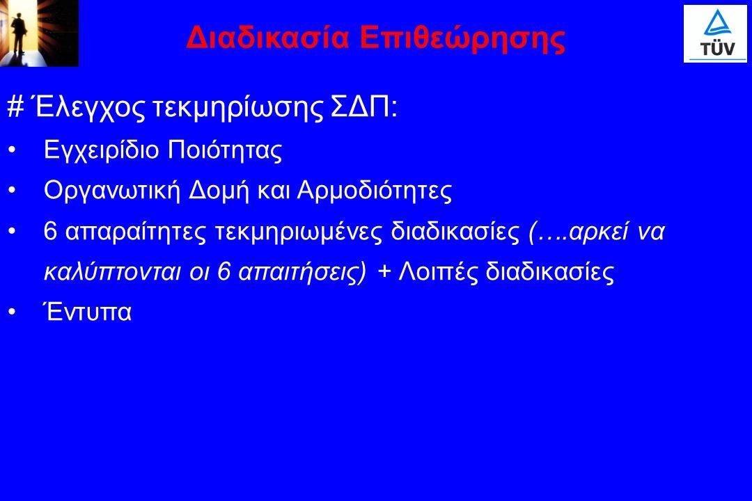 # Έλεγχος τεκμηρίωσης ΣΔΠ: Εγχειρίδιο Ποιότητας Οργανωτική Δομή και Αρμοδιότητες 6 απαραίτητες τεκμηριωμένες διαδικασίες (….αρκεί να καλύπτονται οι 6