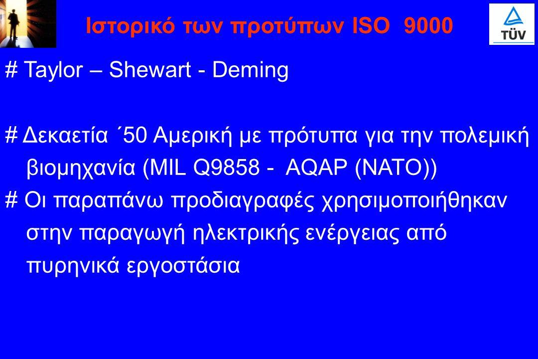 # Taylor – Shewart - Deming # Δεκαετία ΄50 Αμερική με πρότυπα για την πολεμική βιομηχανία (MIL Q9858 - AQAP (NATO)) # Οι παραπάνω προδιαγραφές χρησιμο