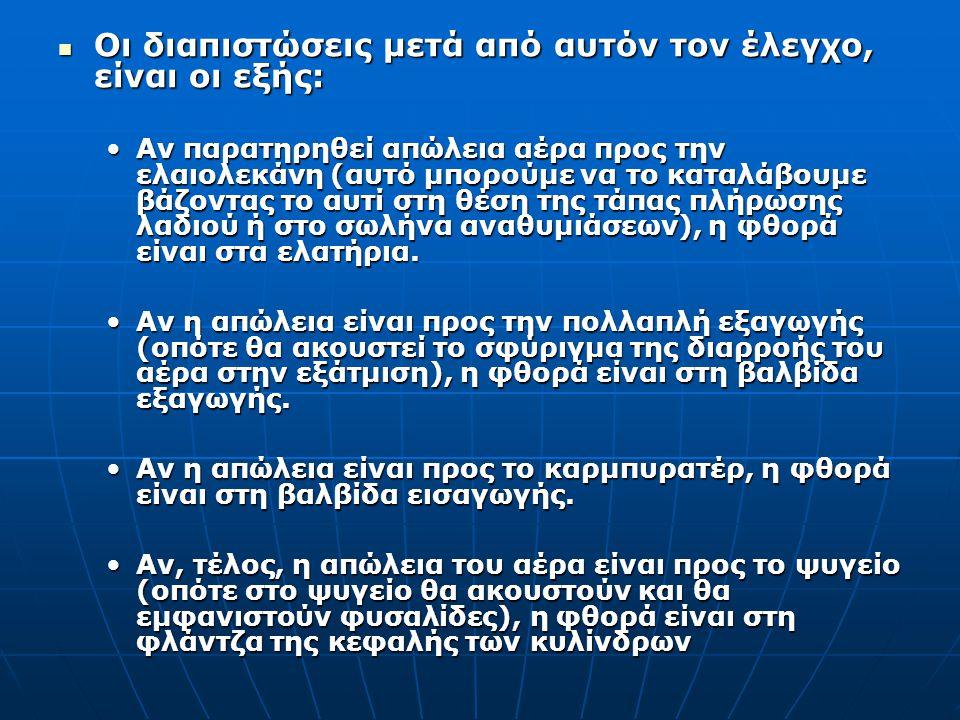 Οι διαπιστώσεις μετά από αυτόν τον έλεγχο, είναι οι εξής: Αν παρατηρηθεί απώλεια αέρα προς την ελαιολεκάνη (αυτό μπορούμε να το καταλάβουμε βάζοντας τ