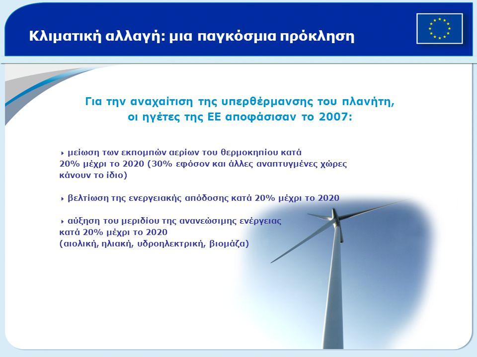 Κλιματική αλλαγή: μια παγκόσμια πρόκληση Για την αναχαίτιση της υπερθέρμανσης του πλανήτη, οι ηγέτες της ΕΕ αποφάσισαν το 2007:  μείωση των εκπομπών