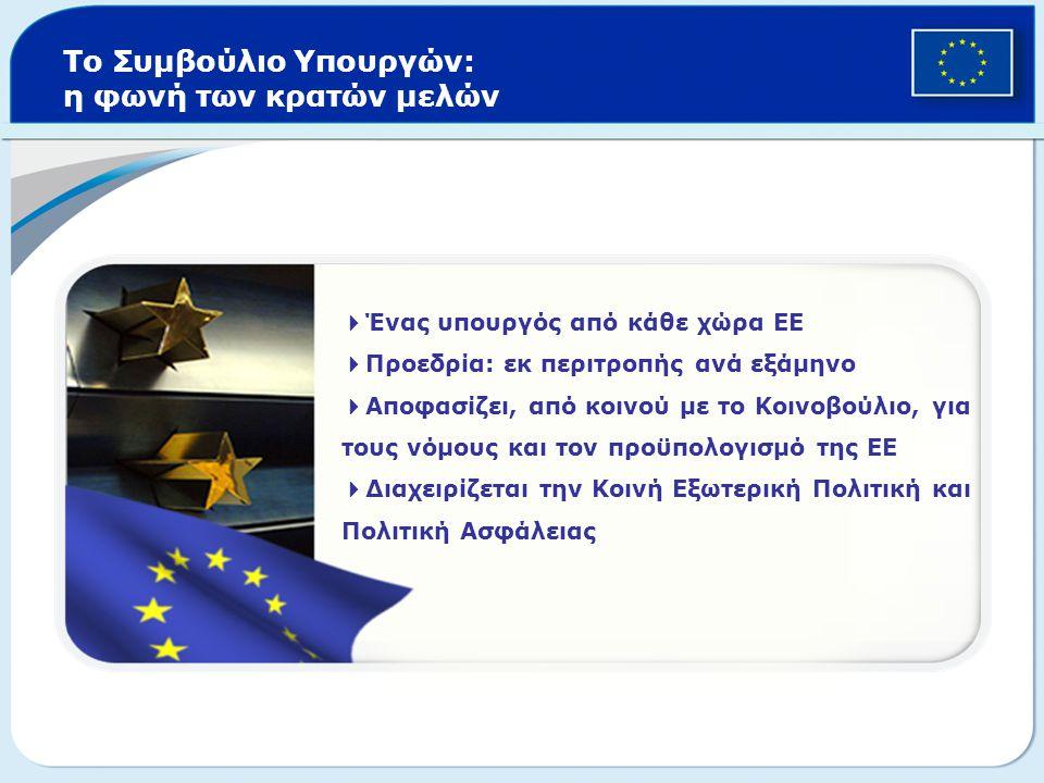 Το Συμβούλιο Υπουργών: η φωνή των κρατών μελών  Ένας υπουργός από κάθε χώρα ΕΕ  Προεδρία: εκ περιτροπής ανά εξάμηνο  Αποφασίζει, από κοινού με το Κ