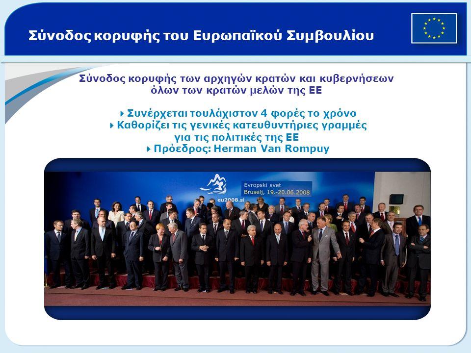 Σύνοδος κορυφής του Ευρωπαϊκού Συμβουλίου Σύνοδος κορυφής των αρχηγών κρατών και κυβερνήσεων όλων των κρατών μελών της ΕΕ  Συνέρχεται τουλάχιστον 4 φ
