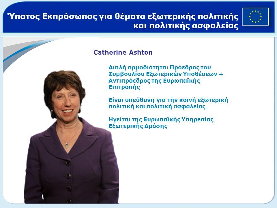 Ύπατος Εκπρόσωπος για θέματα εξωτερικής πολιτικής και πολιτικής ασφαλείας Catherine Ashton Διπλή αρμοδιότητα: Πρόεδρος του Συμβουλίου Εξωτερικών Υποθέ