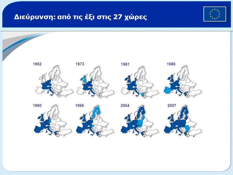 Διεύρυνση: από τις έξι στις 27 χώρες 19521973 1981 1986 1990199520042007