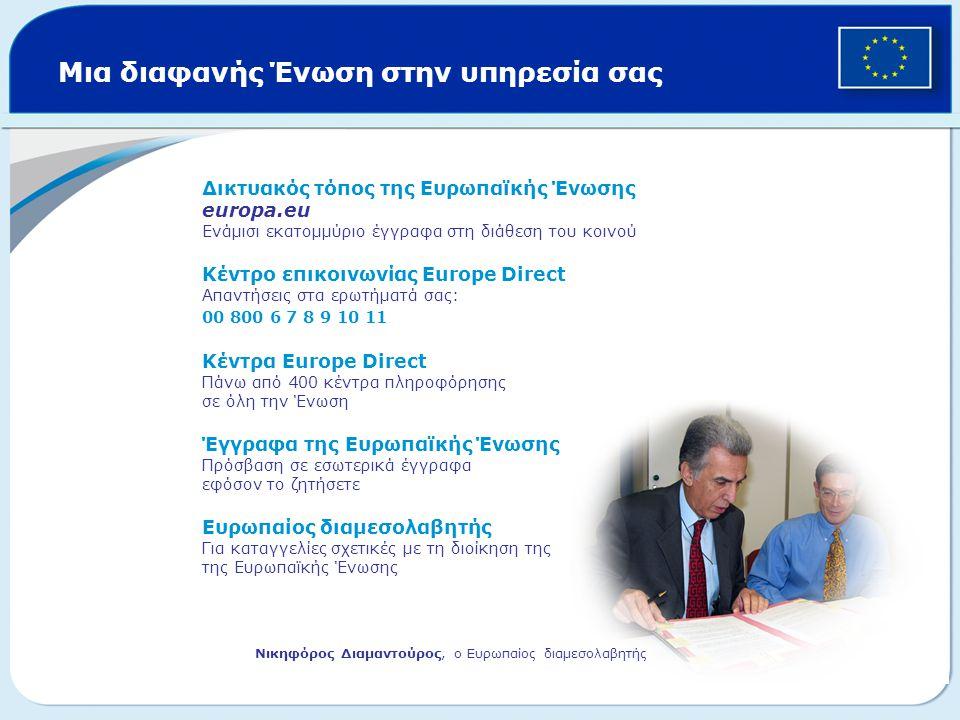 Μια διαφανής Ένωση στην υπηρεσία σας Δικτυακός τόπος της Ευρωπαϊκής Ένωσης europa.eu Ενάμισι εκατομμύριο έγγραφα στη διάθεση του κοινού Κέντρο επικοιν