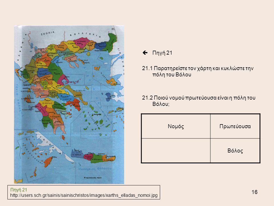 16  Πηγή 21 21.1 Παρατηρείστε τον χάρτη και κυκλώστε την πόλη του Βόλου 21.2 Ποιού νομού πρωτεύουσα είναι η πόλη του Βόλου; ΝομόςΠρωτεύουσα Βόλος Πηγή 21 http://users.sch.gr/sainis/sainischristos/images/xarths_elladas_nomoi.jpg