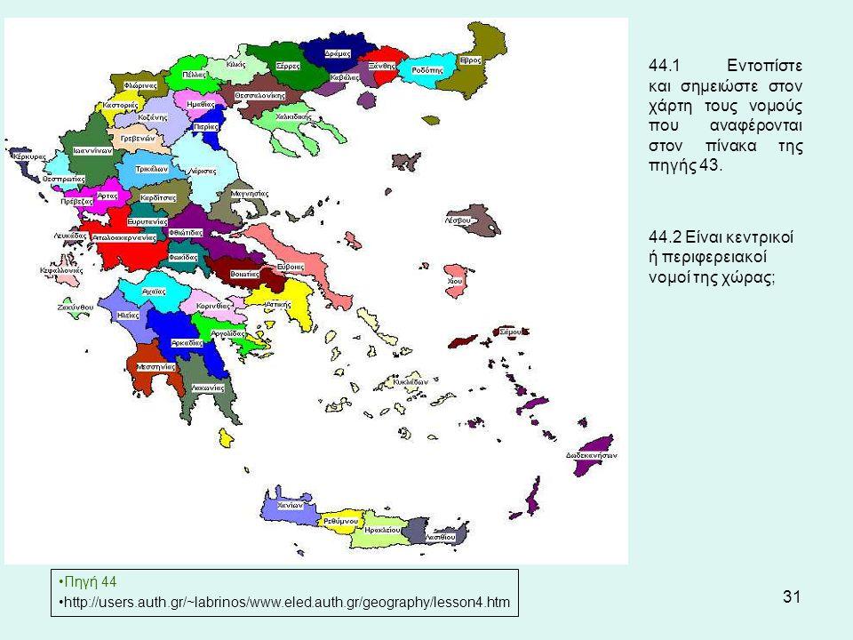 31 44.1 Εντοπίστε και σημειώστε στον χάρτη τους νομούς που αναφέρονται στον πίνακα της πηγής 43.