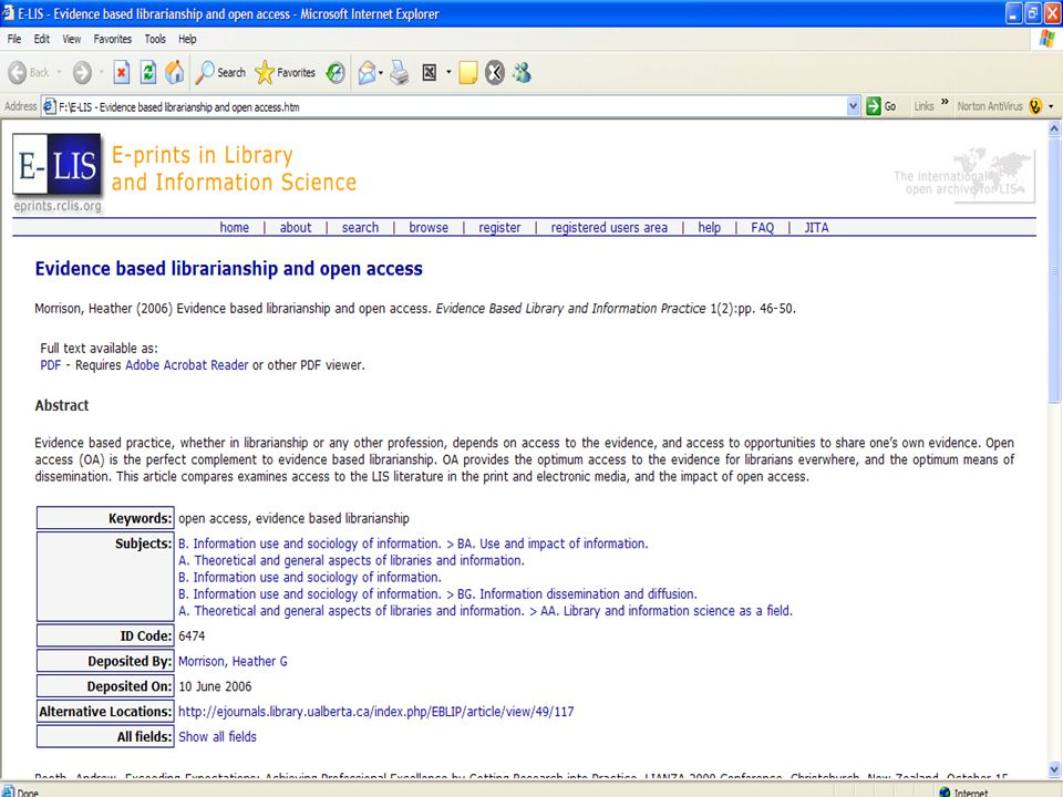 7 Στόχοι Προώθηση της φιλοσοφίας της ανοικτής πρόσβασης Διαθεσιμότητα τεκμηρίων πλήρους κειμένου (ελεύθερα ορατά, προσβάσιμα, αναζητήσιμα, ανακτήσιμα και εύχρηστα) για τη βιβλιοθηκονομία, την επιστήμη της πληροφόρησης και σχετικούς τομείς Υποστήριξη σε άτομα που επιθυμούν να καταστήσουν τα τεκμήριά τους διαθέσιμα σε παγκόσμια κλίμακα Βελτίωση της γνώσης σχετικά με τη δημιουργία και τη διαχείριση των ανοικτών αρχείων Προώθηση της ιδέας των ανοικτών αρχείων σε διάφορους επιστημονικούς κλάδους Δημιουργία ενός έγκυρου και αξιόπιστου μοντέλου για το χώρο της επιστήμης της πληροφόρησης Δημιουργία μιας αφετηρίας για συλλογική προσπάθεια και εποικοδομητική συνεργασία ανάμεσα στους επαγγελματίες του χώρου