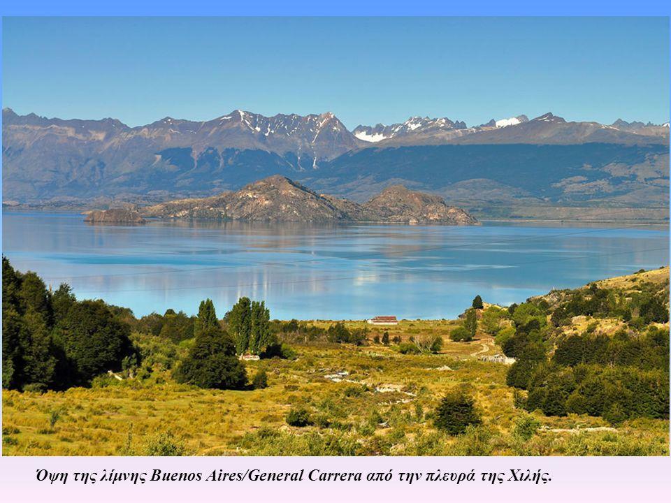 Η λίμνη Buenos Aires/General Carrera Η λίμνη προσεγγίζεται από την πλευρά της Χιλής