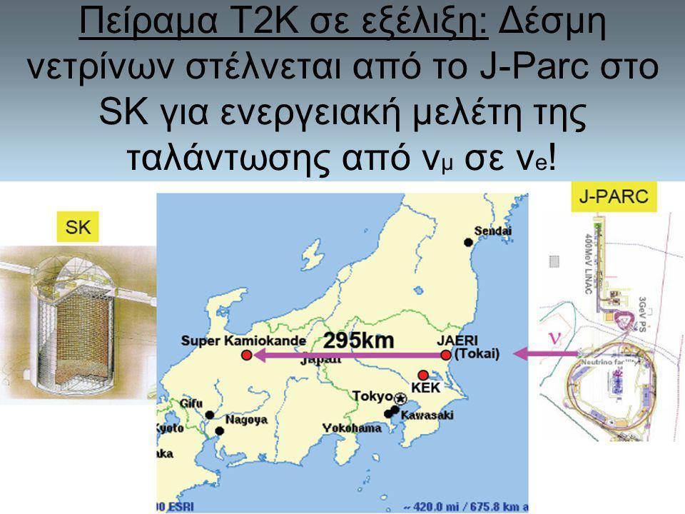Πείραμα Τ2Κ σε εξέλιξη: Δέσμη νετρίνων στέλνεται από το J-Parc στο SK για ενεργειακή μελέτη της ταλάντωσης από v μ σε v e !
