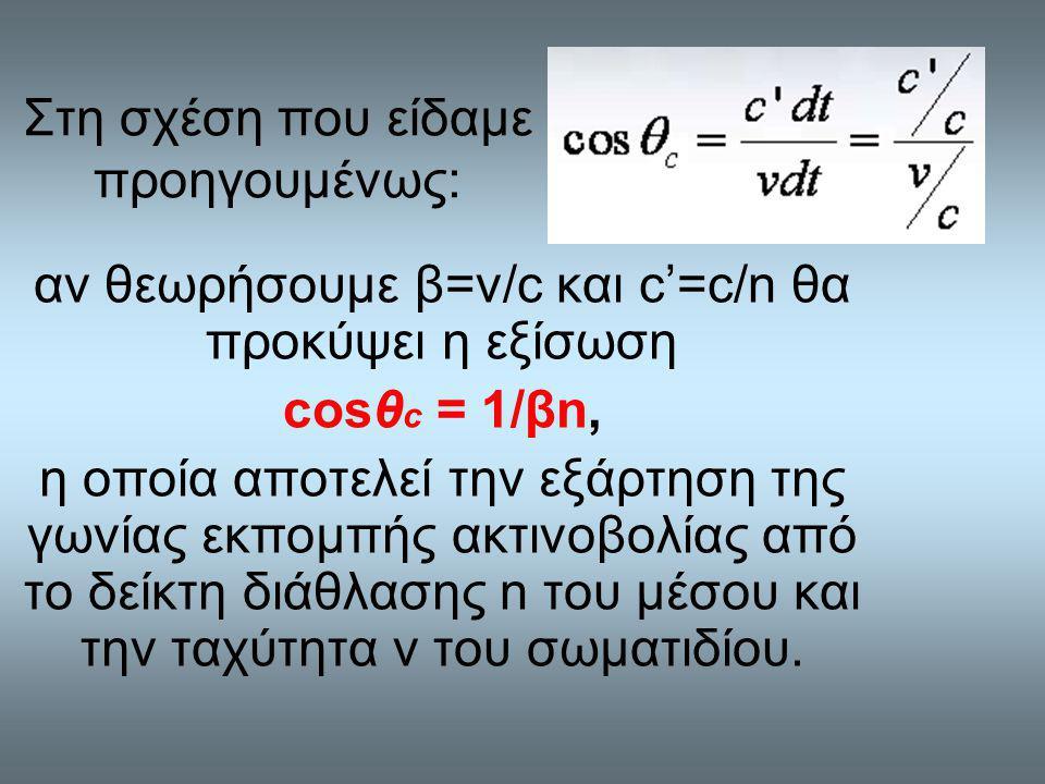 Στη σχέση που είδαμε προηγουμένως: αν θεωρήσουμε β=ν/c και c'=c/n θα προκύψει η εξίσωση cosθ c = 1/βn, η οποία αποτελεί την εξάρτηση της γωνίας εκπομπής ακτινοβολίας από το δείκτη διάθλασης n του μέσου και την ταχύτητα v του σωματιδίου.