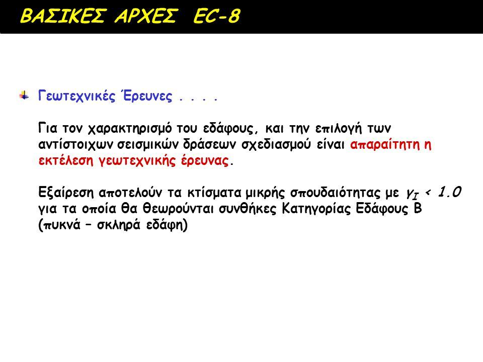Οι διατάξεις του EC-8 για την ΕΔΑΦΙΚΗ ΕΠΙΔΡΑΣΗ στις σεισμικές δράσεις είναι αρκετά..