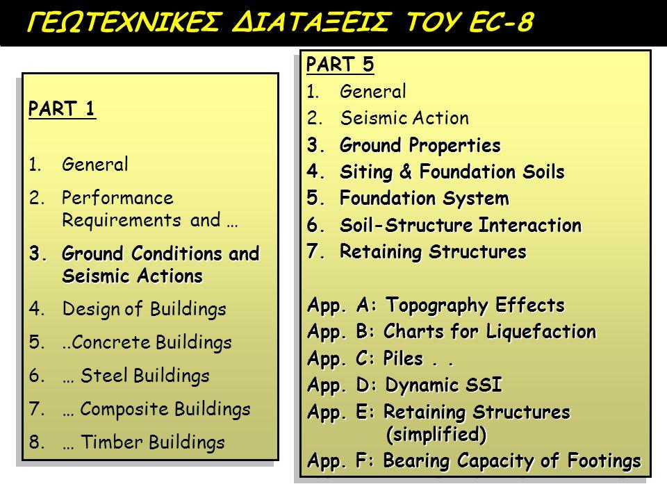 ΓΕΩΤΕΧΝΙΚΕΣ ΔΙΑΤΑΞΕΙΣ ΤΟΥ EC-8 PART 1 1. 1.General 2. 2.Performance Requirements and … 3.Ground Conditions and Seismic Actions 4. 4.Design of Building