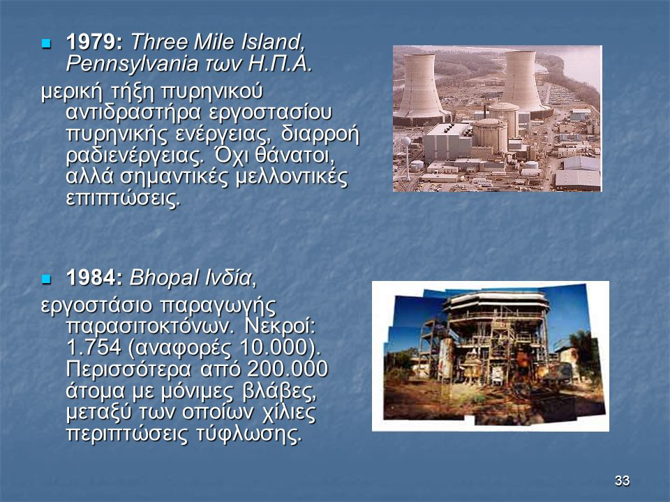 33 1979: Three Mile Island, Pennsylvania των Η.Π.Α. 1979: Three Mile Island, Pennsylvania των Η.Π.Α. μερική τήξη πυρηνικού αντιδραστήρα εργοστασίου πυ