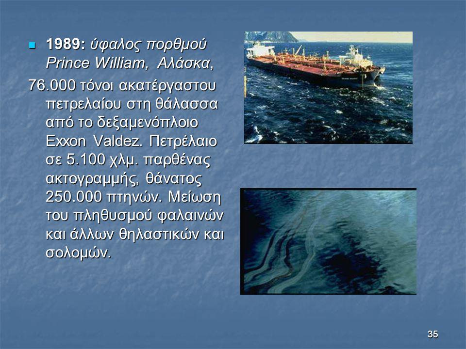 35 1989: ύφαλος πορθμού Prince William, Αλάσκα, 1989: ύφαλος πορθμού Prince William, Αλάσκα, 76.000 τόνοι ακατέργαστου πετρελαίου στη θάλασσα από το δ