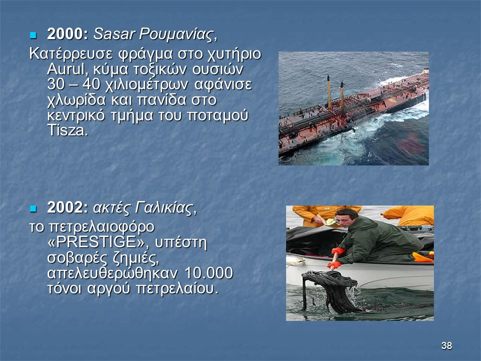 38 2000: Sasar Ρουμανίας, 2000: Sasar Ρουμανίας, Κατέρρευσε φράγμα στο χυτήριο Aurul, κύμα τοξικών ουσιών 30 – 40 χιλιομέτρων αφάνισε χλωρίδα και πανί