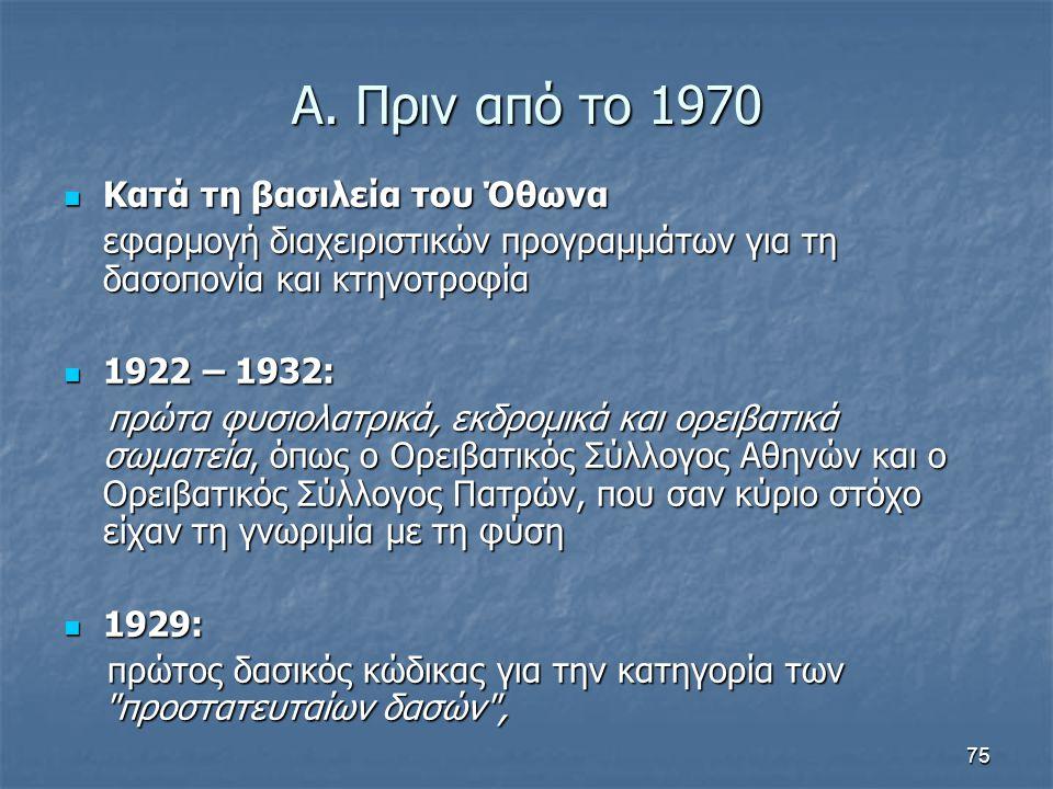 75 Α. Πριν από το 1970 Κατά τη βασιλεία του Όθωνα Κατά τη βασιλεία του Όθωνα εφαρμογή διαχειριστικών προγραμμάτων για τη δασοπονία και κτηνοτροφία 192