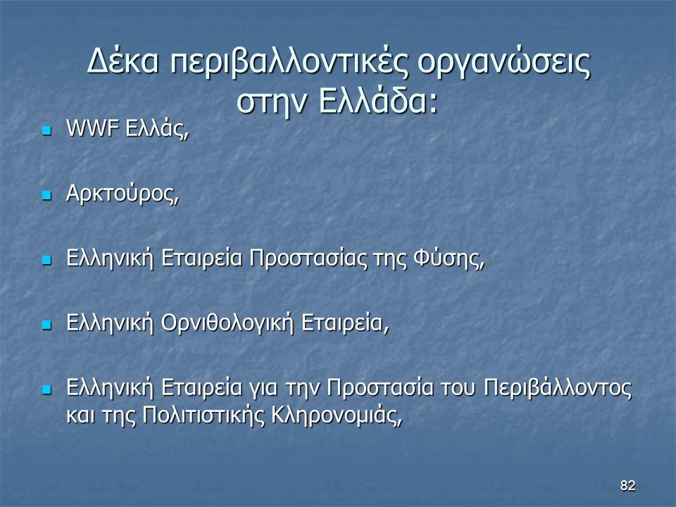 82 Δέκα περιβαλλοντικές οργανώσεις στην Ελλάδα: WWF Ελλάς, WWF Ελλάς, Αρκτούρος, Αρκτούρος, Ελληνική Εταιρεία Προστασίας της Φύσης, Ελληνική Εταιρεία