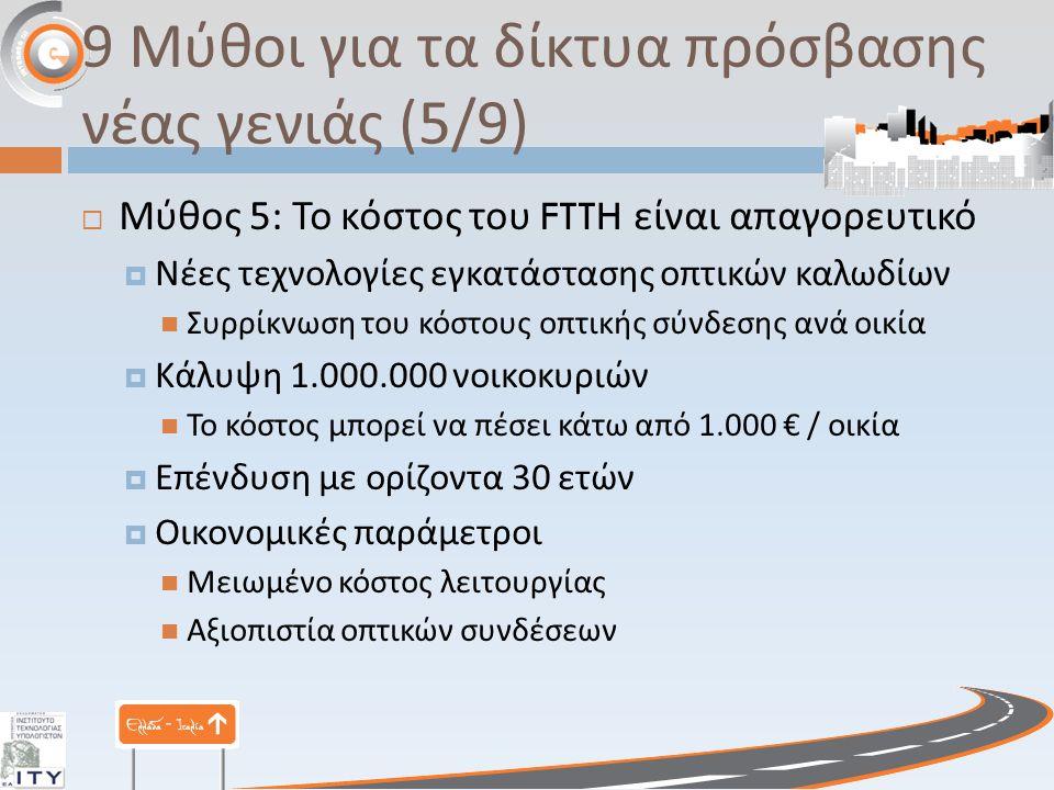 9 Μύθοι για τα δίκτυα πρόσβασης νέας γενιάς (5/9)  Μύθος 5: Το κόστος του FTTH είναι απαγορευτικό  Νέες τεχνολογίες εγκατάστασης οπτικών καλωδίων Συρρίκνωση του κόστους οπτικής σύνδεσης ανά οικία  Κάλυψη 1.000.000 νοικοκυριών Το κόστος μπορεί να πέσει κάτω από 1.000 € / οικία  Επένδυση με ορίζοντα 30 ετών  Οικονομικές παράμετροι Μειωμένο κόστος λειτουργίας Αξιοπιστία οπτικών συνδέσεων