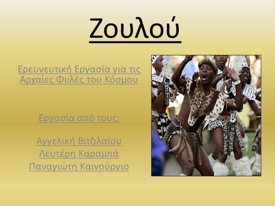 Ζουλού Ερευνευτική Εργασία για τις Αρχαίες Φυλές του Κόσμου Εργασία από τους: Αγγελική Βιτζιλαίου Λευτέρη Καραμπά Παναγιώτη Καινούργιο