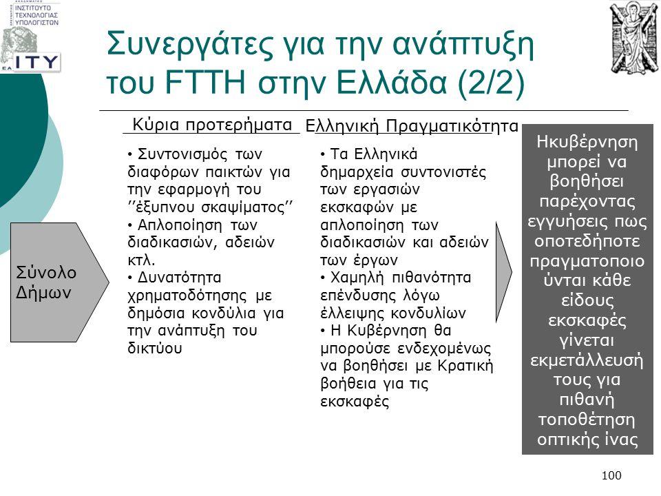 Συνεργάτες για την ανάπτυξη του FTTH στην Ελλάδα (2/2) 100 Σύνολο Δήμων Συντονισμός των διαφόρων παικτών για την εφαρμογή του ''έξυπνου σκαψίματος'' Α
