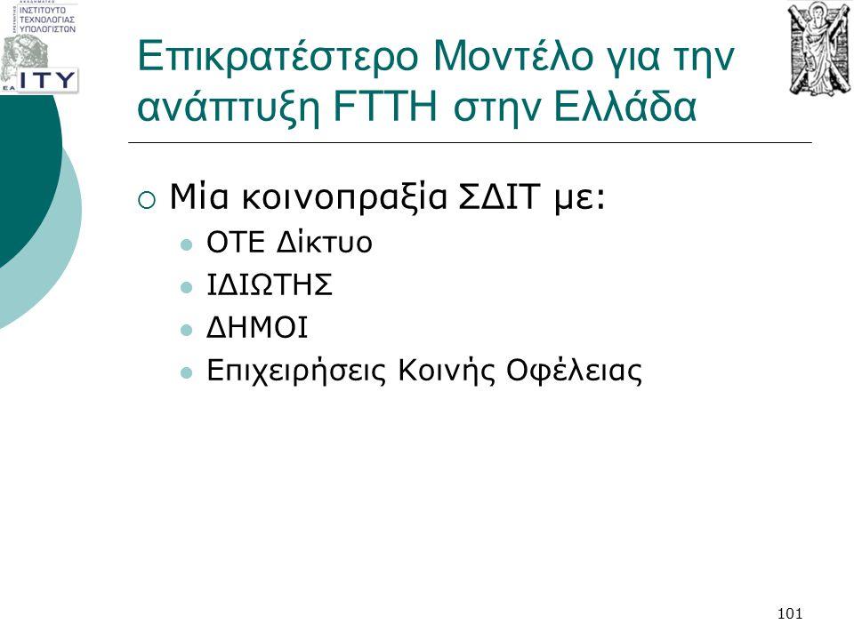 Επικρατέστερο Μοντέλο για την ανάπτυξη FTTH στην Ελλάδα  Μία κοινοπραξία ΣΔΙΤ με: ΟΤΕ Δίκτυο ΙΔΙΩΤΗΣ ΔΗΜΟΙ Επιχειρήσεις Κοινής Οφέλειας 101