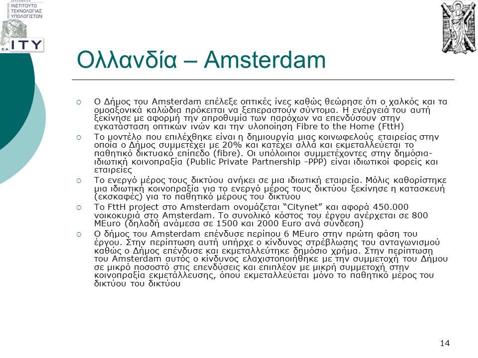 Ολλανδία – Amsterdam  Ο Δήμος του Amsterdam επέλεξε οπτικές ίνες καθώς θεώρησε ότι ο χαλκός και τα ομοαξονικά καλώδια πρόκειται να ξεπεραστούν σύντομ