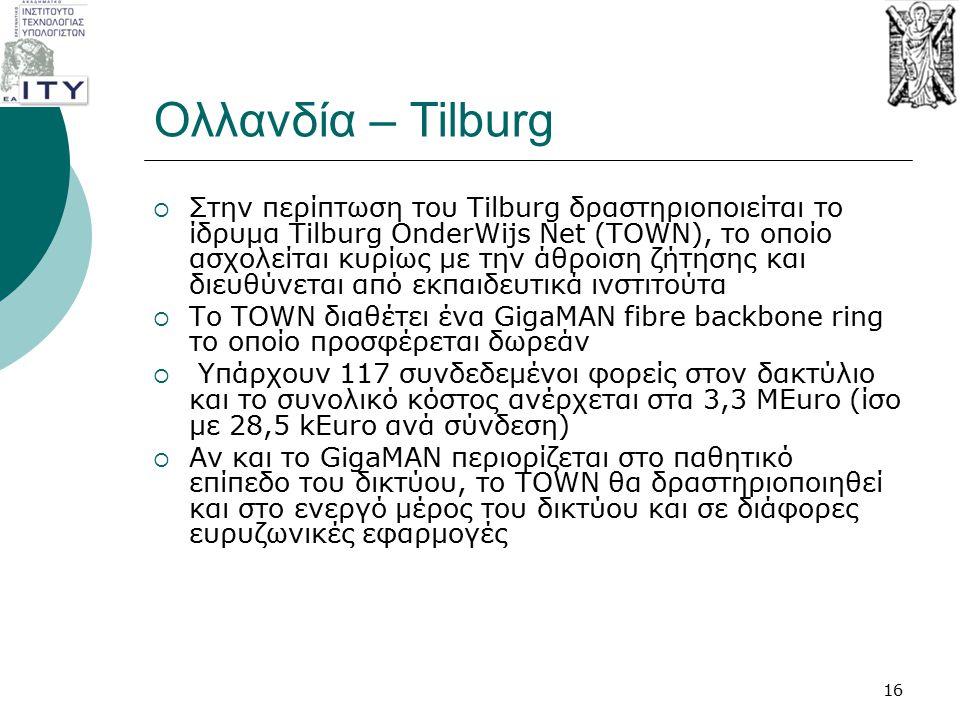 Ολλανδία – Tilburg  Στην περίπτωση του Tilburg δραστηριοποιείται το ίδρυμα Tilburg OnderWijs Net (TOWN), το οποίο ασχολείται κυρίως με την άθροιση ζή