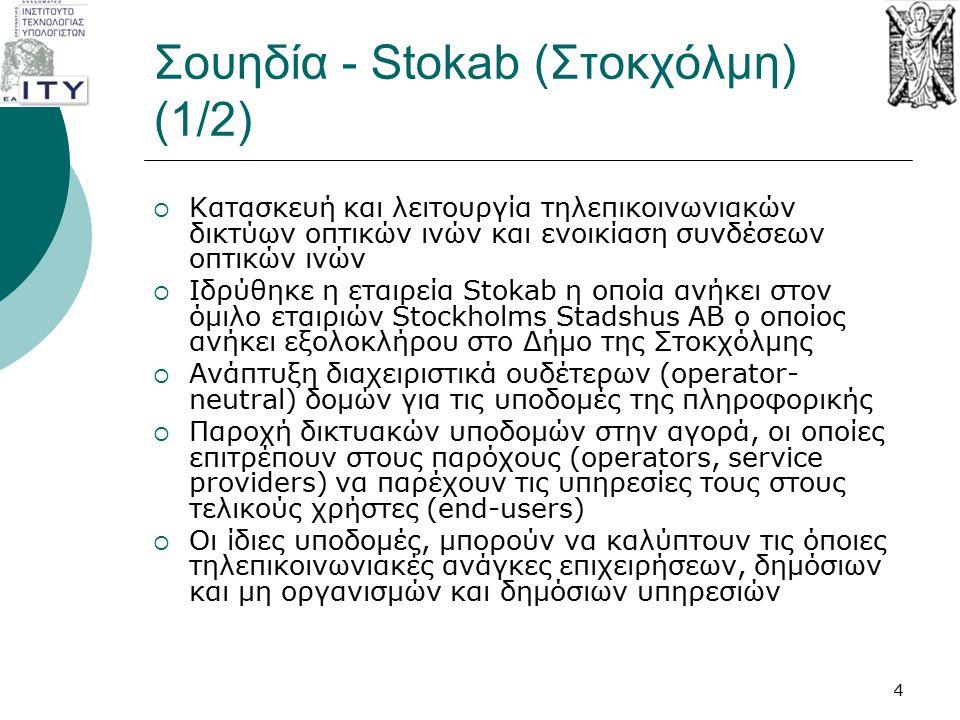 Σουηδία - Stokab (Στοκχόλμη) (1/2)  Κατασκευή και λειτουργία τηλεπικοινωνιακών δικτύων οπτικών ινών και ενοικίαση συνδέσεων οπτικών ινών  Ιδρύθηκε η