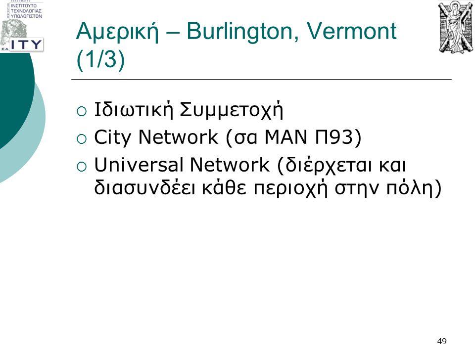 Αμερική – Burlington, Vermont (1/3)  Ιδιωτική Συμμετοχή  City Network (σα ΜΑΝ Π93)  Universal Network (διέρχεται και διασυνδέει κάθε περιοχή στην π
