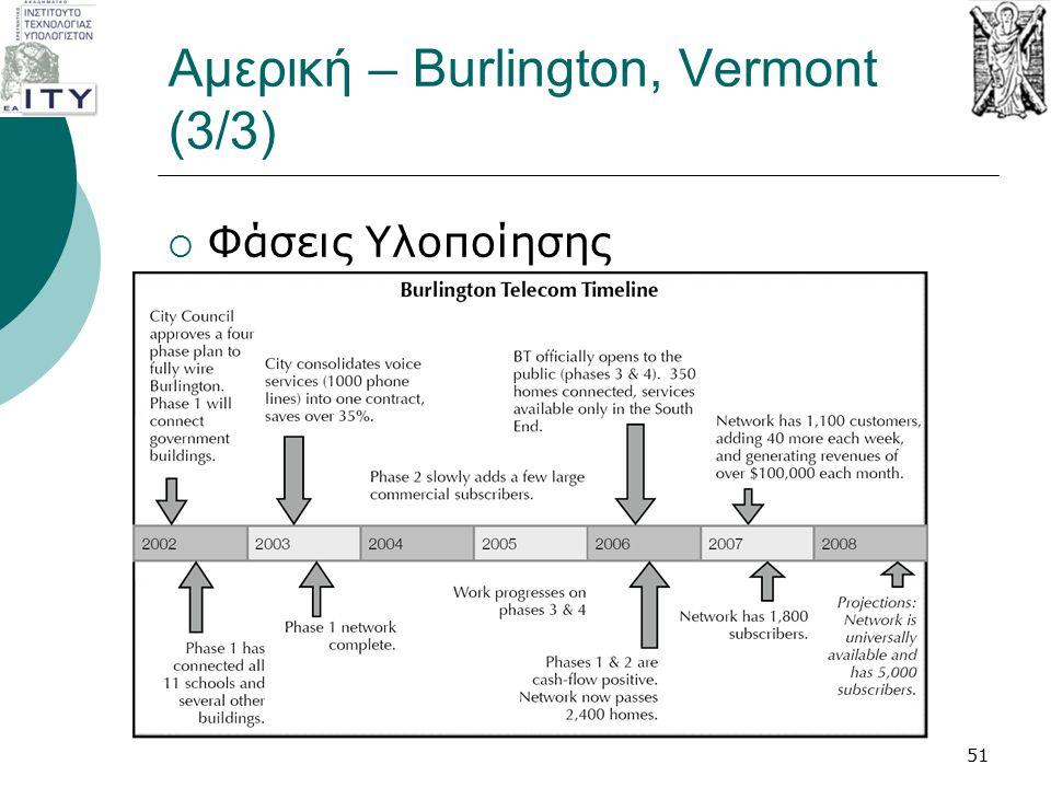 Αμερική – Burlington, Vermont (3/3)  Φάσεις Υλοποίησης 51