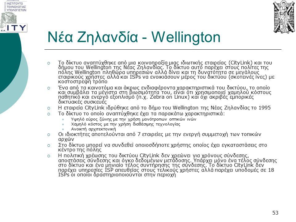 Νέα Ζηλανδία - Wellington  Το δίκτυο αναπτύχθηκε από μια κοινοπραξία μιας ιδιωτικής εταιρείας (CityLink) και του δήμου του Wellington της Νέας Ζηλανδ