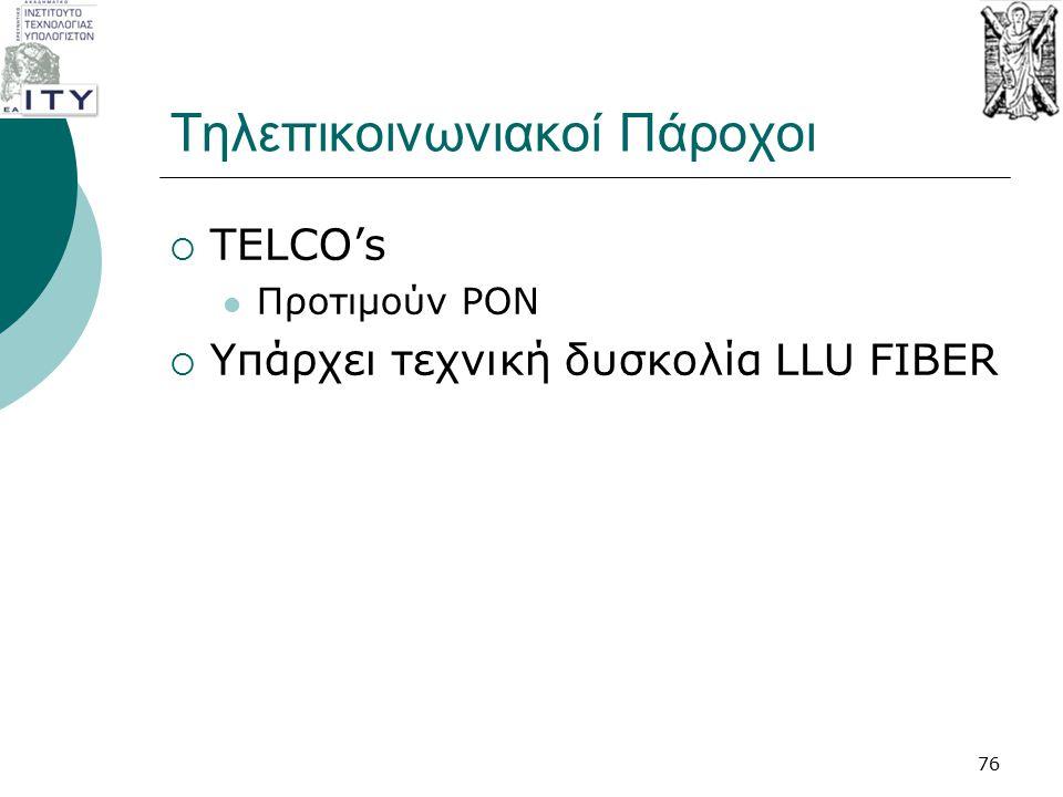 Τηλεπικοινωνιακοί Πάροχοι  TELCO's Προτιμούν PON  Υπάρχει τεχνική δυσκολία LLU FIBER 76