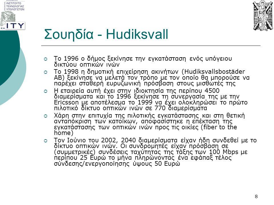 Σουηδία - Hudiksvall  Το 1996 ο δήμος ξεκίνησε την εγκατάσταση ενός υπόγειου δικτύου οπτικών ινών  To 1998 η δημοτική επιχείρηση ακινήτων (Hudiksval