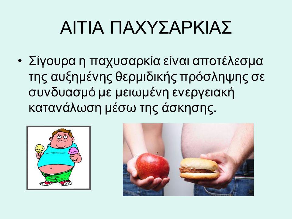 ΑΙΤΙΑ ΠΑΧΥΣΑΡΚΙΑΣ Σίγουρα η παχυσαρκία είναι αποτέλεσμα της αυξημένης θερμιδικής πρόσληψης σε συνδυασμό με μειωμένη ενεργειακή κατανάλωση μέσω της άσκ